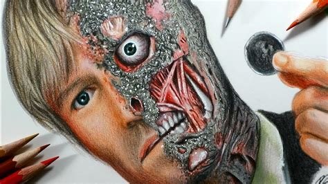 How to draw Two Faces - Harvey Dent (from The Dark Knight