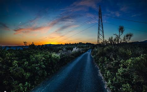 Wallpaper Country road, Sunset, HD, Nature, #8180